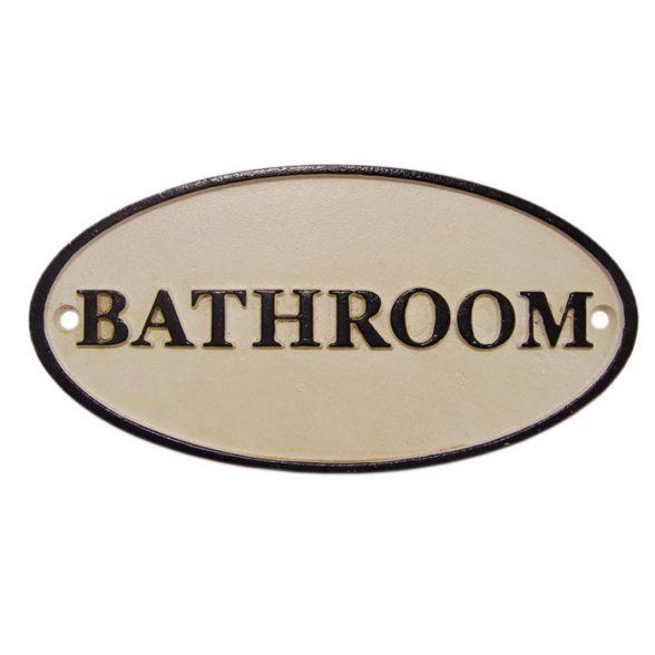 Skylt i bemålat gjutjärn med texten Bathroom.