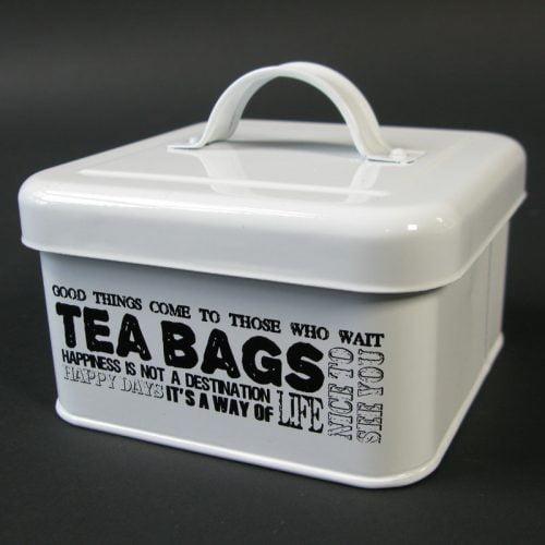 Plåtburk med lock för förvaring av tepåsar. Mått: 12,5x12,5x10,5 cm