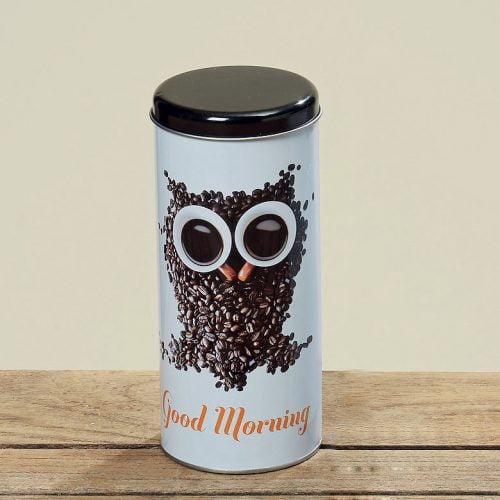 Kaffeburk i plåt med motiv av uggla, diameter 8 cm, höjd 18 cm.