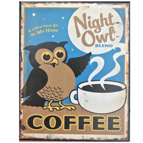 Plåttavla med passande kaffemotiv för den som är kvällspigg, mått 20x25 cm.