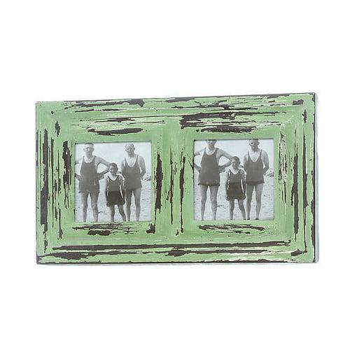 Fotoram i metall med vacker patinering, ramen har plats för två foton. Bildmått 8,5x8,5 cm vardera, mått inklusive ram 30,5x17,5 cm.