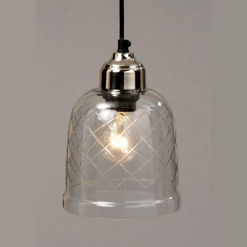Tak-/fönsterlampa med slipat glas och fäste i krom. Svart sladd. Diameter 15 cm, höjd 20 cm.