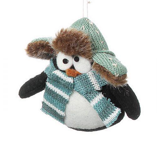 Sött mjukdjur i form av pingvin med vintermössa. Höjd 9 cm.