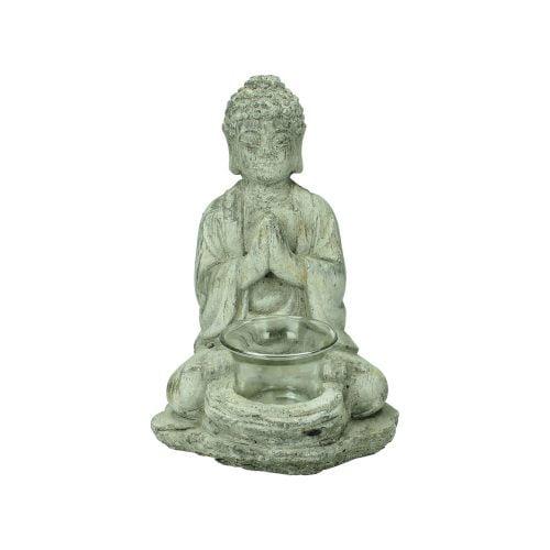 Buddha i betong med hållare för värmeljus. Mått 15x13x21 cm.