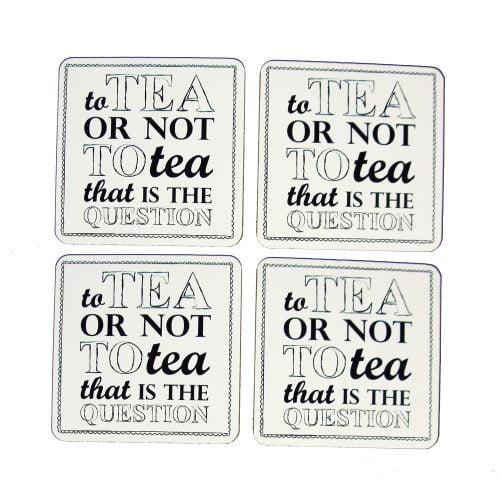 "Glasunderlägg ""To tea or not to tea..."", 4 st/set"