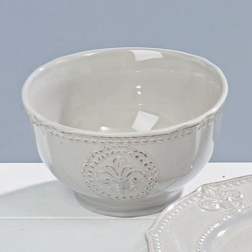 Frukostskål i grå keramik med dekor av fransk lilja, diameter 15 cm.
