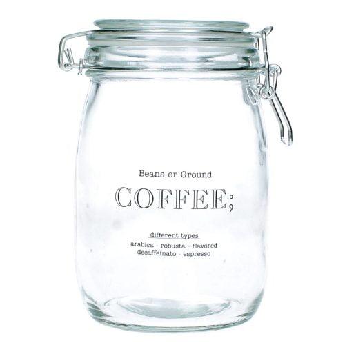 Glasburk med snäpplock för förvaring av kaffe. Diameter 11 cm, höjd 17 cm.