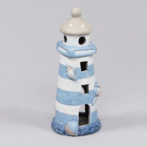 Fyrtorn i keramik med plats för värmeljus, mått 8x8,5x20,5 cm (lxbxh).