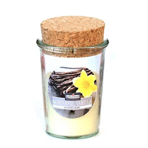 Sprid väldoft i hemmet med detta doftljus i glasburk med korklock. Diameter 6,8 cm, höjd 10 cm.