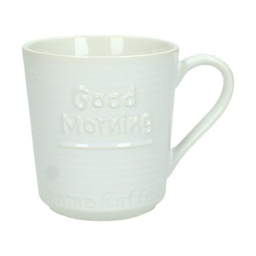 "Mugg i keramik med texten ""Good morning"". Diameter 8 cm, höjd 9 cm."