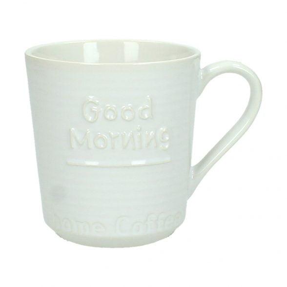 """Mugg i keramik med texten """"Good morning"""". Diameter 8 cm, höjd 9 cm."""