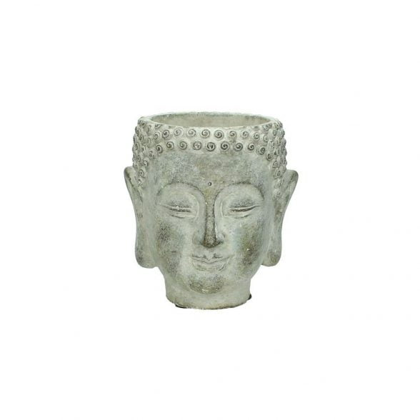Kruka i betong i form av ett buddhahuvud. Mått 13,5x12,5 cm.