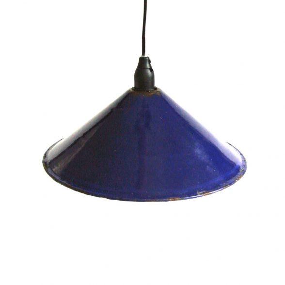 Skomakarlampa / taklampa blå-vit emaljerad plåt, vintage