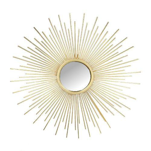 Solspegel med ram i guldfärgad metall. Diameter 42,5 cm.