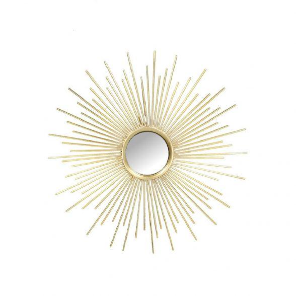 Solspegel med ram i guldfärgad metall. Diameter 35 cm.