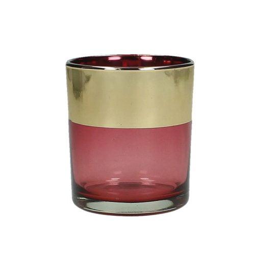 Ljuslykta i färgat glas med guldkant. Diameter 7 cm, höjd 8 cm