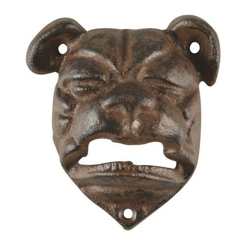 Väggmonterad kapsylöppnare i form av en hund i gjutjärn, mått9x8x4 cm.