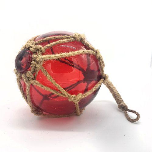 Glasflöte i rött glas för dekoration, diameter 13 cm.