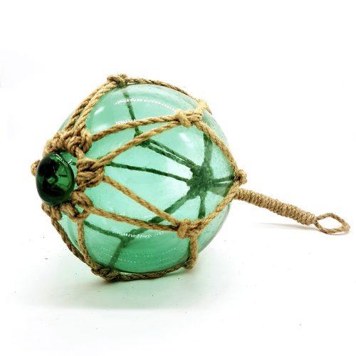 Glasflöte i grönt glas för dekoration, diameter 13 cm.