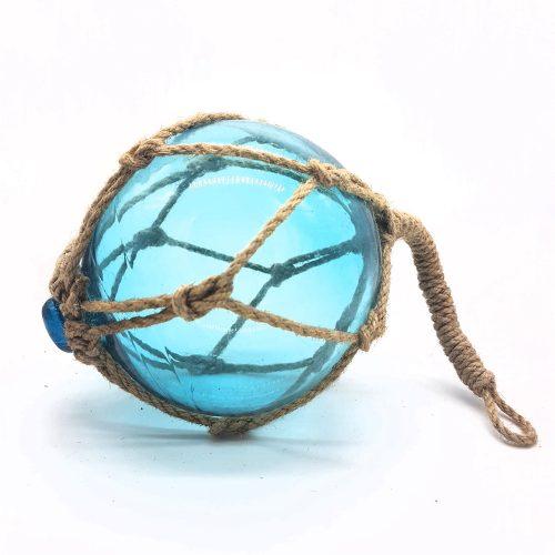 Glasflöte i blått glas för dekoration, diameter 13 cm.