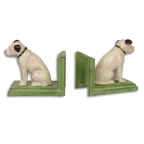 1-par bokstöd i gjutjärn med dekor av hund, mått 14x12x7,5 cm (lxhxd).