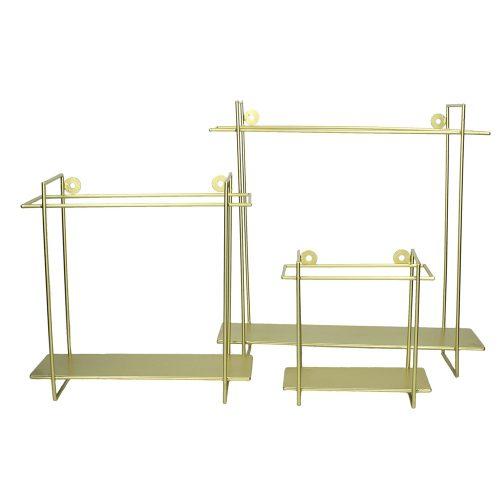 Vägghylla i stilfull matt guldfärgad metall. Välj mellan tre olika storlekar (lxdxh).