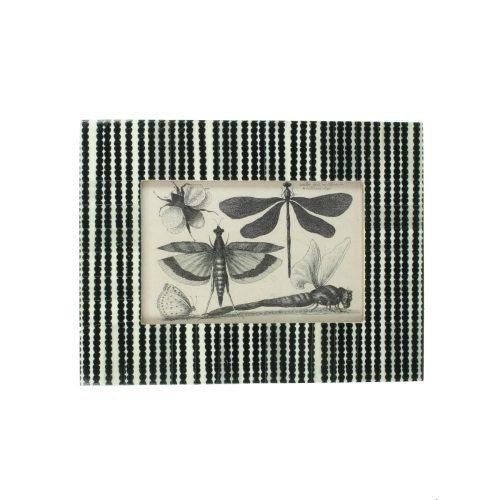 Fotoram med vacker svart-vit mönstrad ram. Levereras komplett med det fina fjärilsmotivet. Mått bildyta 9x14 cm.