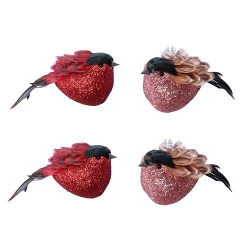 Dekorativ fågel som fästes med metallklämman, set med 2 st rosa och 2 st röda fåglar. Längd 11 cm.