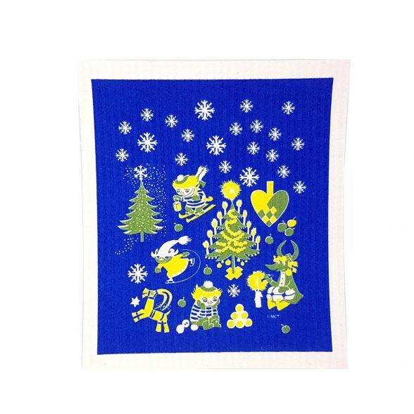 Disktrasa med Muminmotivet Too-Tickis jul. Disktrasan är tillverkad av Wettexduk och har måtten 20×17 cm.