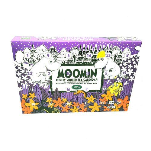 Mumin adventskalender innehåller 24 olika påsteer i en bra mix av svart te, grönt te, vitt te samt rooibos. Adventskalendern innehåller teer med namn som Bekymmersfritt hjärta, Fluffiga moln och Du är härlig för att nämna några.