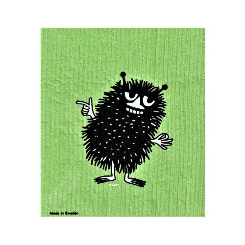 Disktrasa med motiv av Stinky från Mumin. Disktrasan är tillverkad av Wettexduk och går att tvätta både i diskmaskin och tvättmaskin. Mått 20×17 cm.