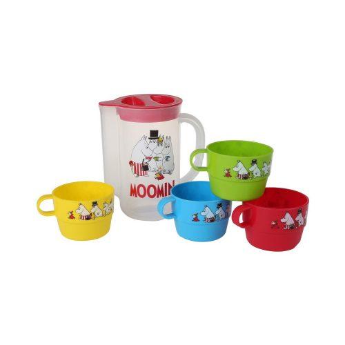 Kanna och fyra muggar dekorerade med fint muminmotiv, perfekt till picknicken. Kannan rymmer 1 liter och muggen rymmer 2,25 dl.