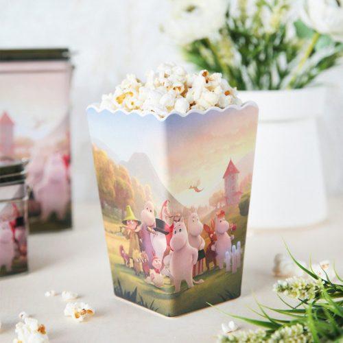 Mumin popcornskål i melamin med motivet Moominvalley. Handdisk rekommenderas. Mått 10x10x15,5 cm (lxbxh).