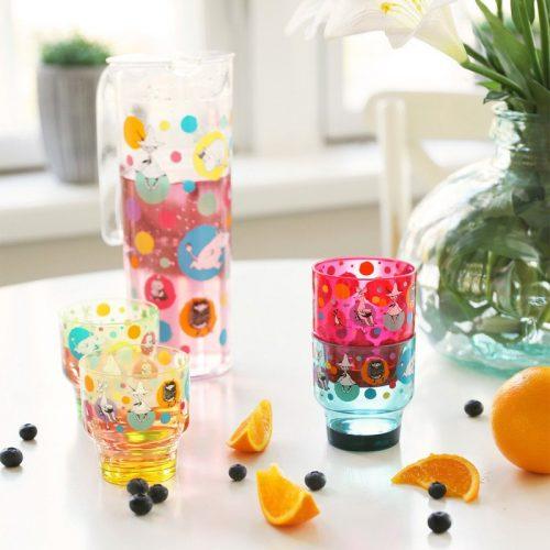 Kanna och fyra glas dekorerade med fint muminmotiv, perfekt till kalaset. Kannan rymmer 1,5 liter och glasen rymmer 3 dl. Tillverkat i genomskinlig och hållbar SAN-plast. Handdisk rekommenderas.