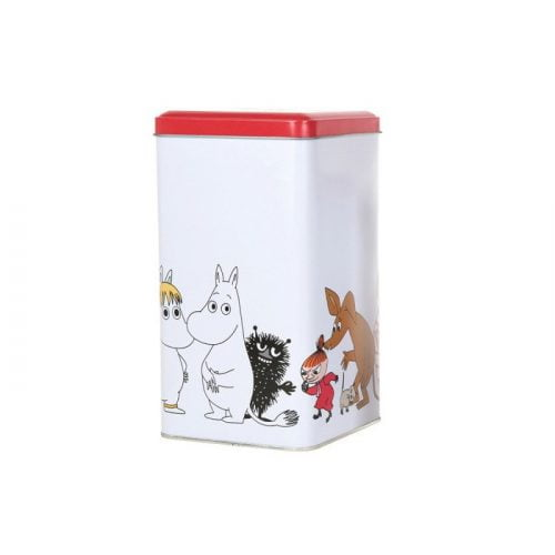 Mumin fyrkantig kaffeburk i plåt med motiv av muminfigurer. Handdisk rekommenderas. Mått 11x11x19 cm (lxbxh).