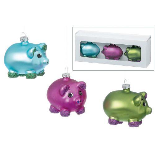Julkulor i färglatt glas i form av en grisar, set om 3 st. Höjd 5 cm.