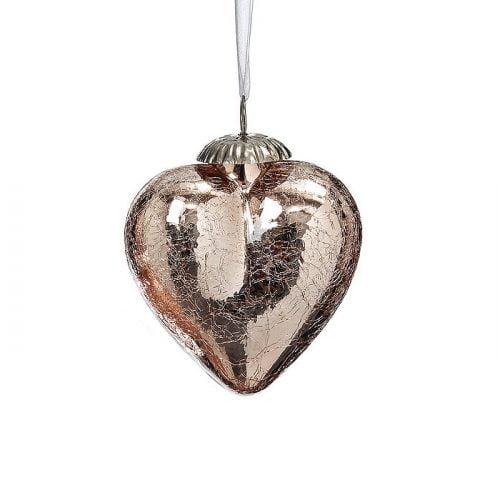Julkula i form av ett hjärta i glas med krackelerad finish. Mått 8 cm.