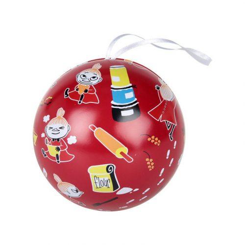 Öppningsbar julkula i plåt med motiv av Lilla My. Diameter 9 cm.