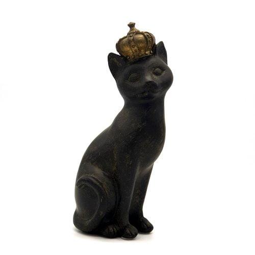 Dekorativ katt med krona i polyresin. Höjd 22 cm.