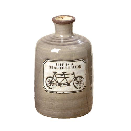 Vas i keramik med texten Life is a beautiful ride. Höjd 23 cm.