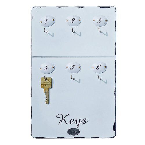 Nyckeltavla i vitmålat trä med 6 st numrerade krokar. Mått 30x20 cm (hxb).