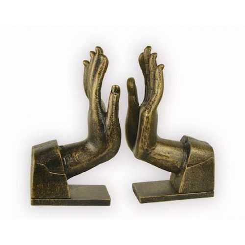 Bokstöd i målat gjutjärn i form av händer, 1 par. mått 23x14,5x7,5 cm (hxbxd).